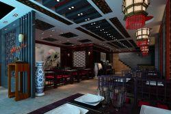 中式火锅店走廊吊顶装修效果图图片