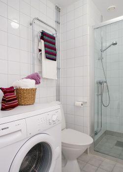 简约小户型卫生间白瓷砖装修效果图