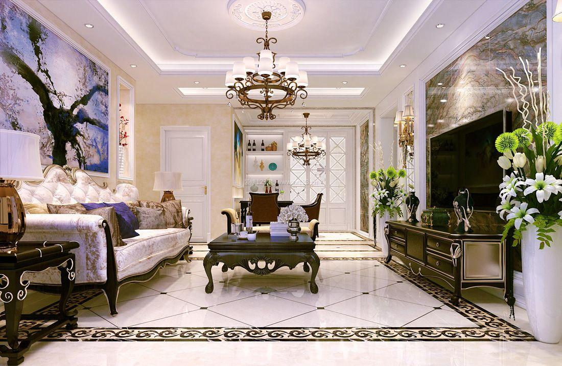 2017现代简欧风格客厅地砖装修效果图片图片