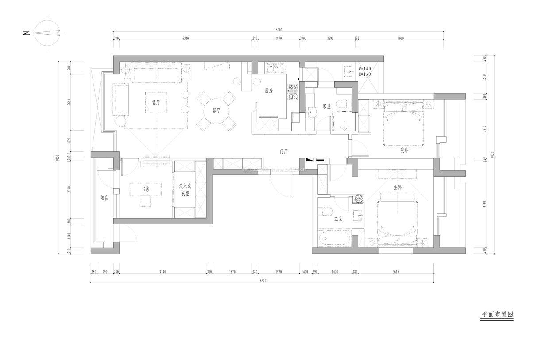 110平米别墅三室两厅两卫户型图