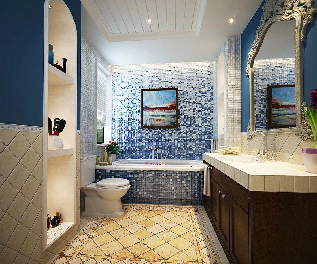 地中海卫浴间砖砌浴缸装修效果图片