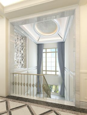 简单欧式 楼梯间吊顶装修图片
