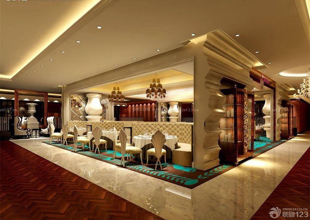 在西餐厅设计过程中,通常吸顶式灯用于天花安装都紧贴,可增加顶棚图片