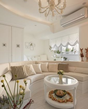 简约田园风格客厅多人沙发装修效果图片