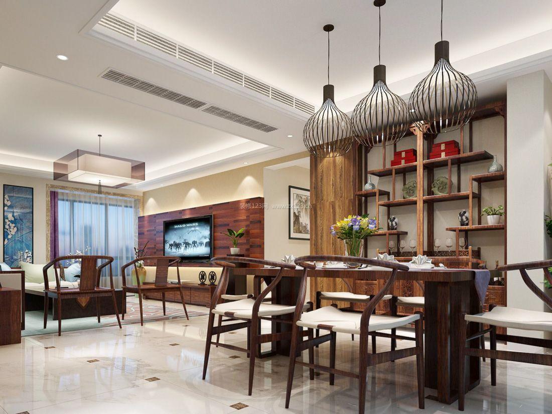 中式客厅餐厅装修灯具效果图