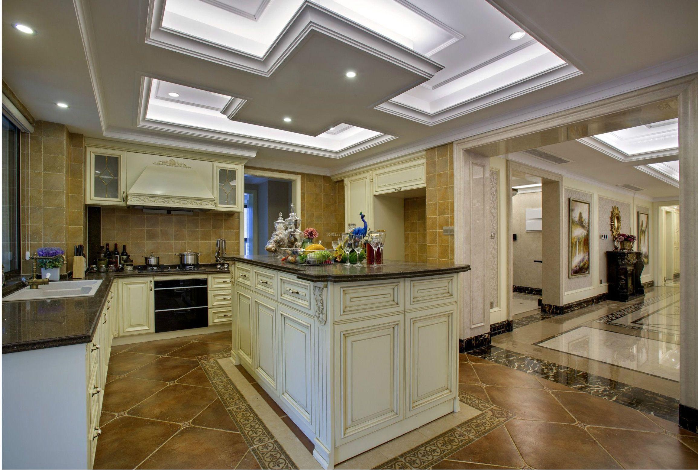 现代欧式背景开放式厨房装修设计风格图2018年最新实景墙图片