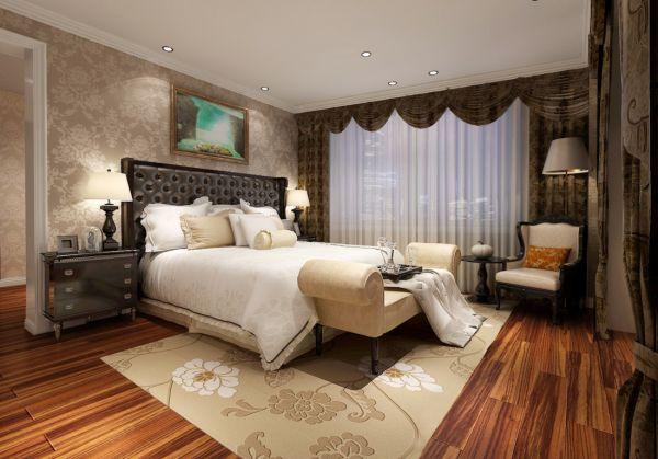 现代欧式风格卧室木地板装修效果图