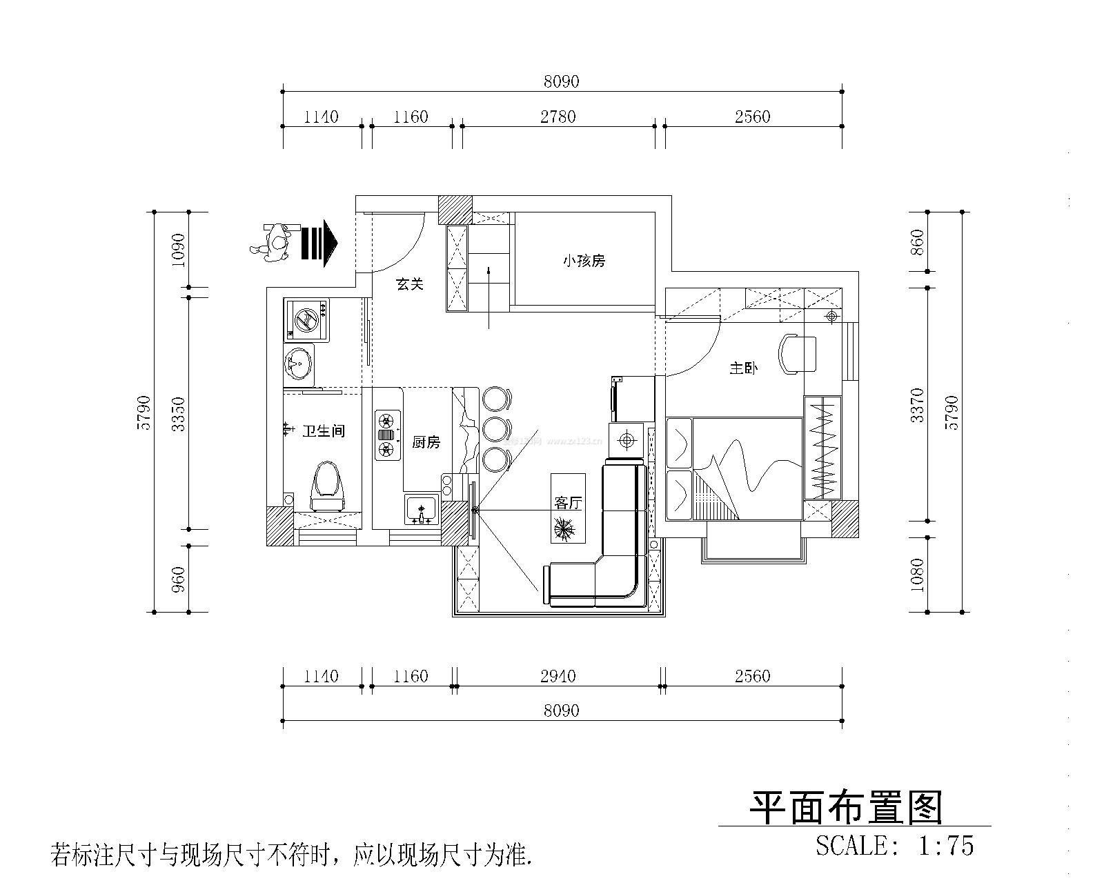 80平米简单小别墅两室一厅户型图