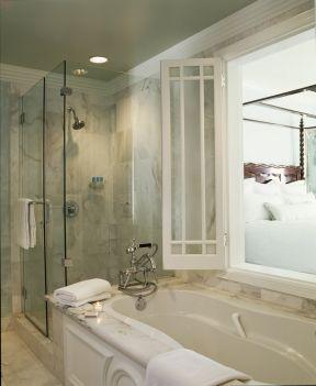 宾馆卫浴装修效果图 玻璃淋浴间装修效果图