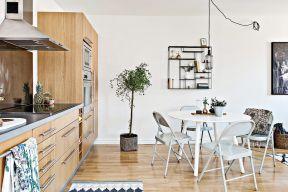北欧简约风格效果图 开放式厨房餐厅装修效果图图片