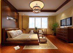 2017新中式别墅设计卧室窗帘装修效果图图片