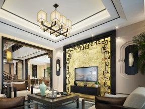 现代中式室内 电视墙装饰效果图大全图片