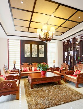 跃层客厅吊顶 纯中式别墅装修效果图