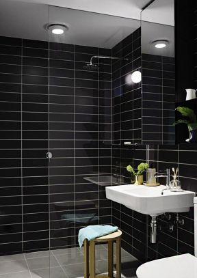 现代简约小户型浴室黑色瓷砖贴图装修效果图