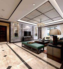 新中式風格別墅大理石電視背景墻設計效果圖