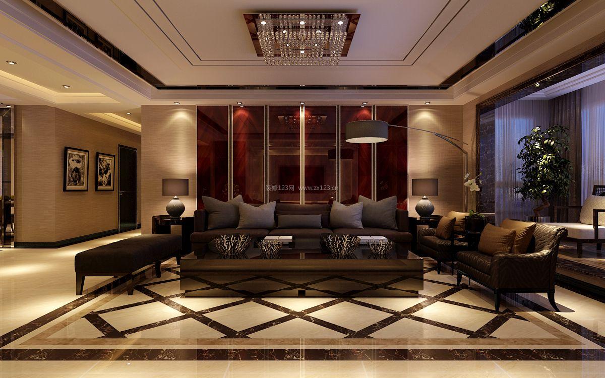现代港式别墅客厅沙发背景墙装修效果图片