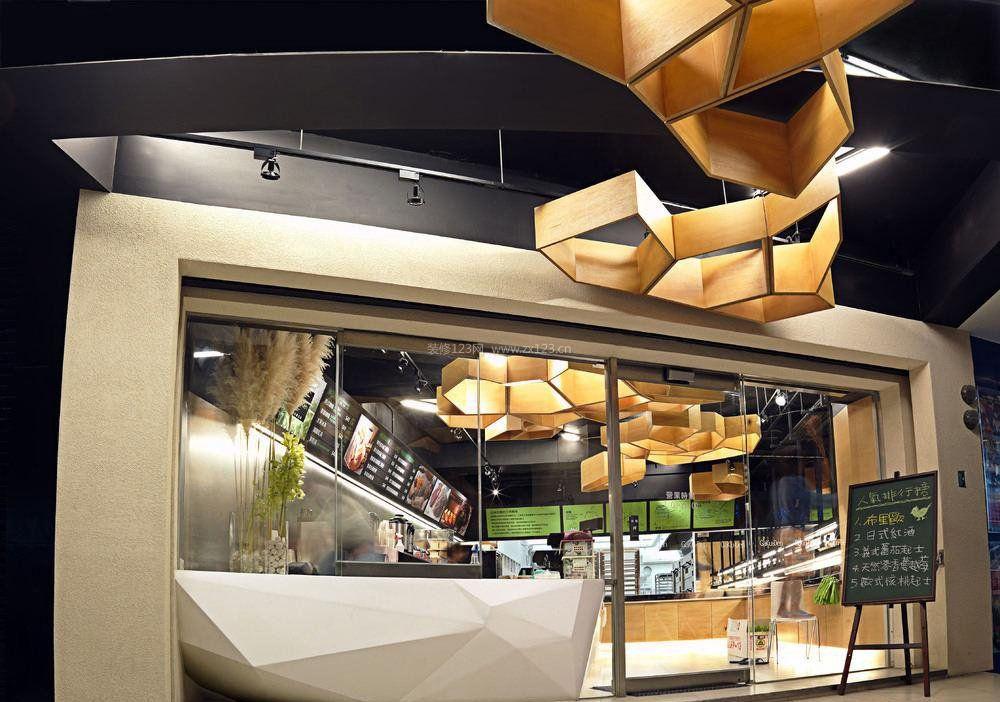小型快餐店面吊顶设计装修效果图