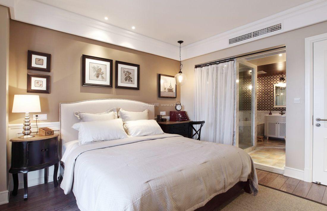2017现代美式样板房小户型卧室装修效果图