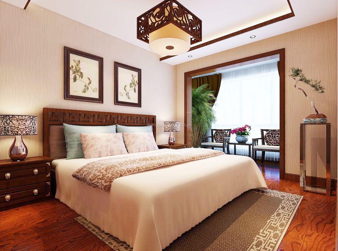 中式风格装修设计卧室阳台装修效果图