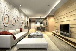 現代客廳樣板房沙發背景墻裝修效果圖片