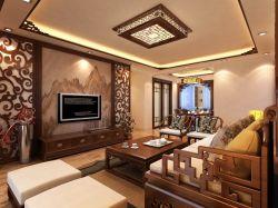 現代中式風客廳電視柜裝潢效果圖