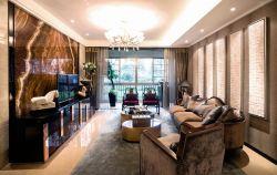 新中式客廳大理石電視背景墻裝修效果圖片