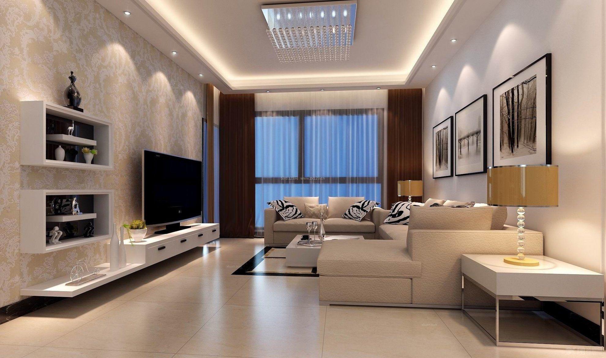 100平米房子装修现代简约客厅电视背景墙效果图片