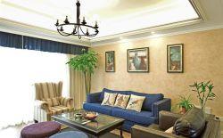 美式鄉村風格樣板房客廳沙發背景墻裝修設計圖