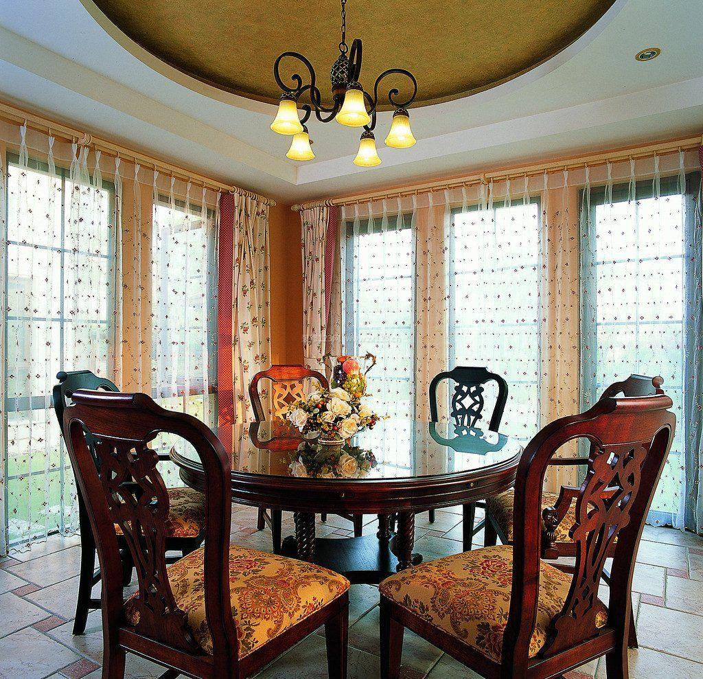 中式家居餐厅圆餐桌装修效果图片