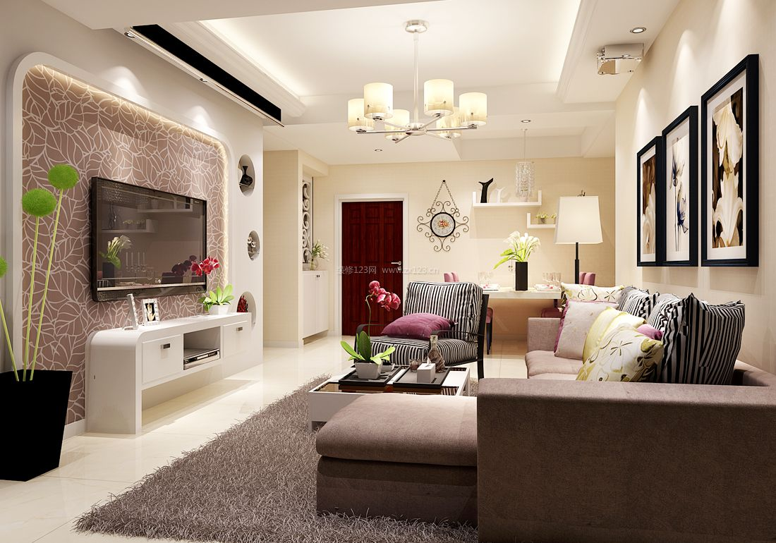 2017小户型房屋客厅多人沙发装修效果图片