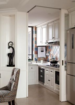 美式厨房装修效果图 厨房墙砖图片