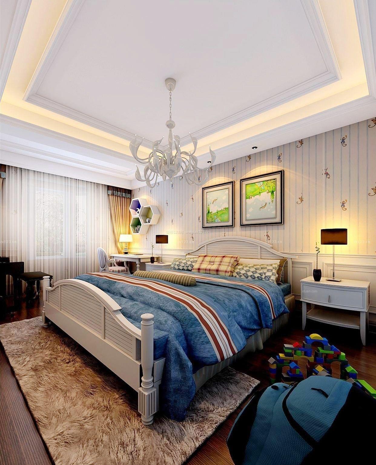 家装效果图 美式 美式风格儿童床头背景墙样板房 提供者:   ←图片