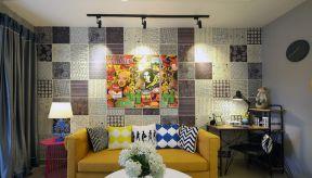 小户型欧式风格 客厅沙发背景墙装修图片