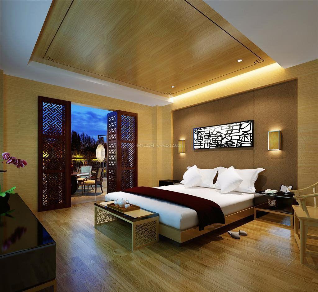中式酒店设计元素客房天花吊顶效果图