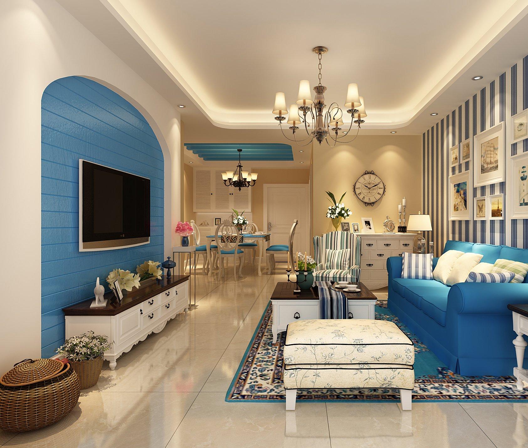 地中海设计客厅电视墙造型