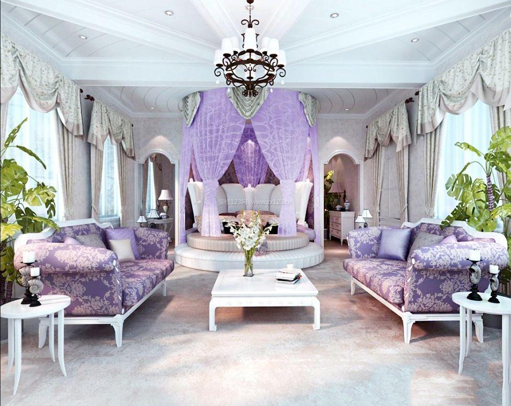 欧式别墅卧室圆床床缦装修效果图片