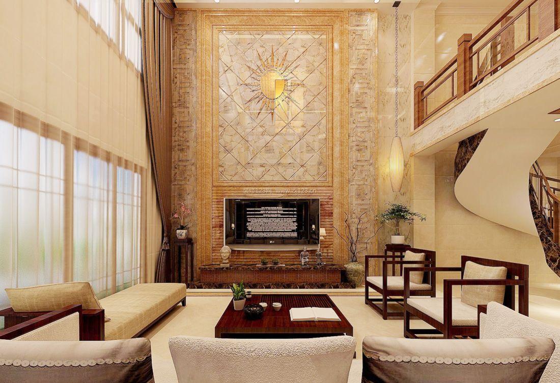 中式简约复式客厅电视背景墙设计装修效果图