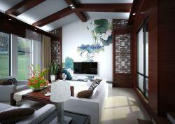 新中式別墅客廳電視背景墻畫設計圖