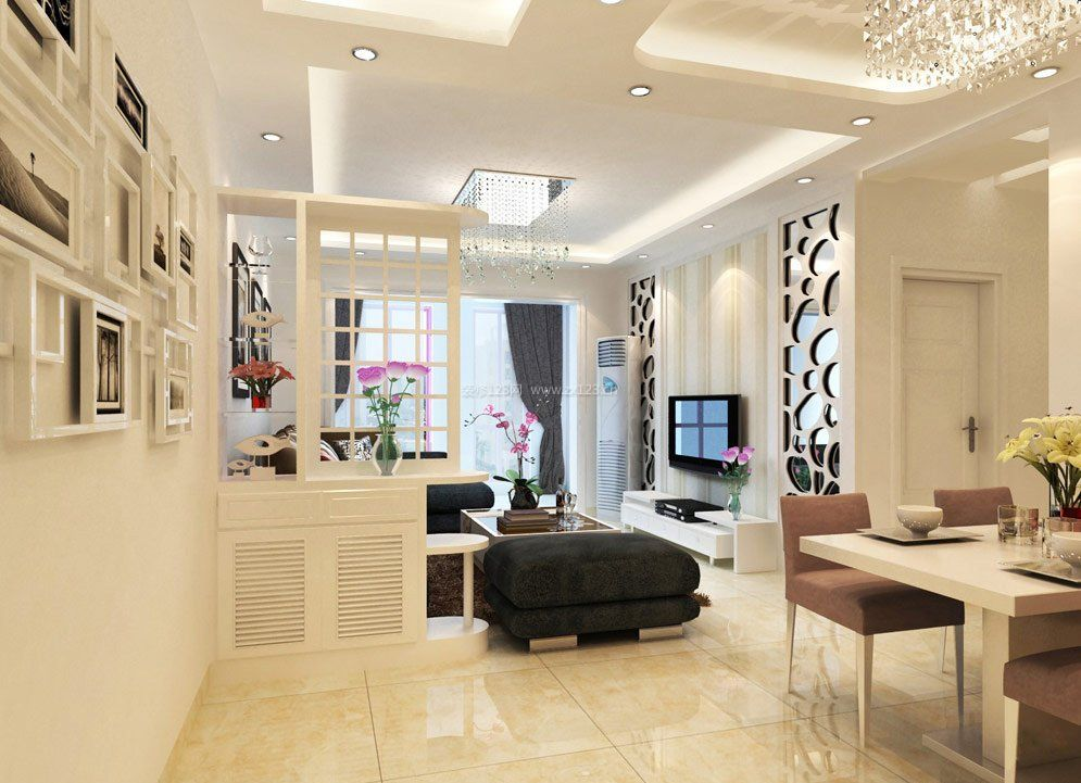 小户型客厅家装设计米白色地砖装修效果图片