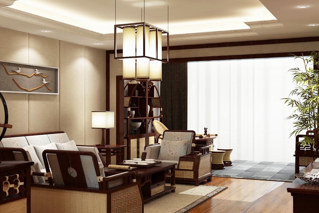 中式家具带阳台客厅装修效果图图片