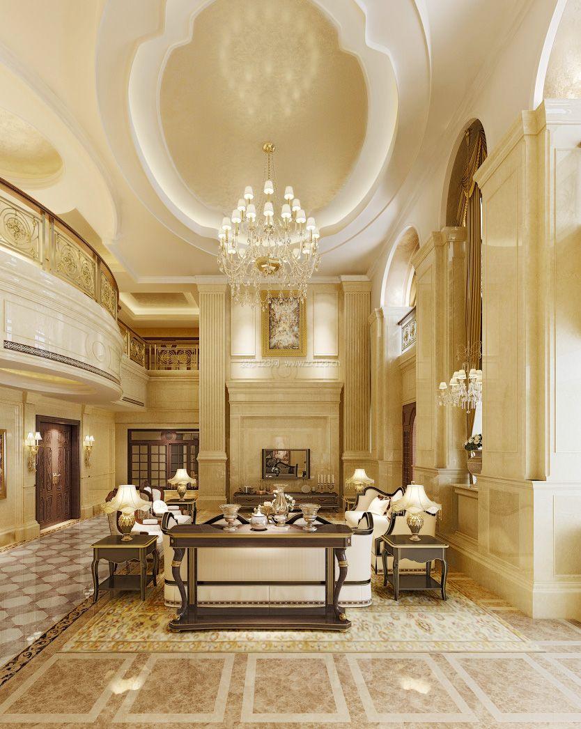 简欧复式楼别墅客厅吊顶装修效果图图片
