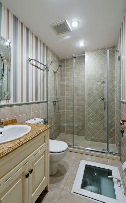 别墅主卧室卫生间玻璃墙装修效果图图片