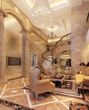 简欧别墅客厅装修效果图 客厅楼梯装修效果图