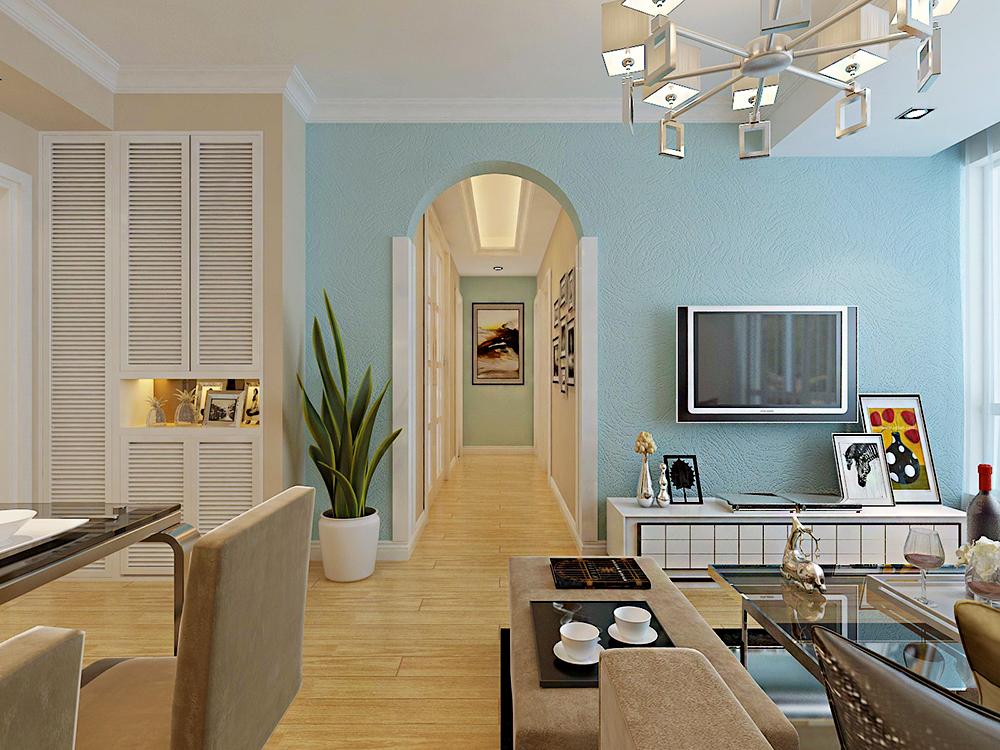 温馨小户型客厅电视背景墙硅藻泥装修效果图
