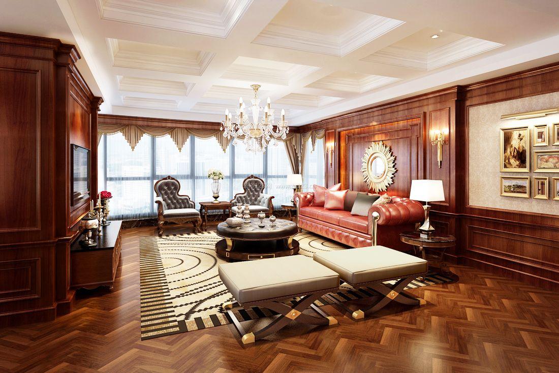 2017美式风格别墅客厅实木地板装修效果图