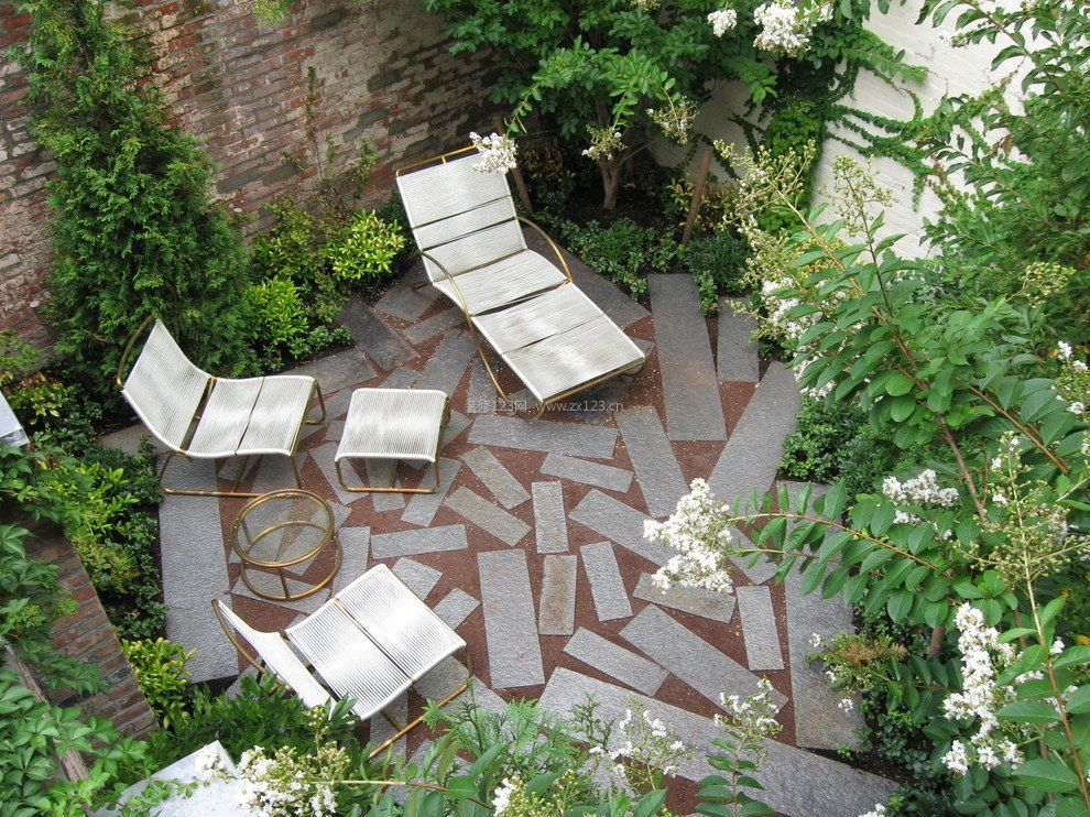 别墅庭院设计露天阳台花园效果图