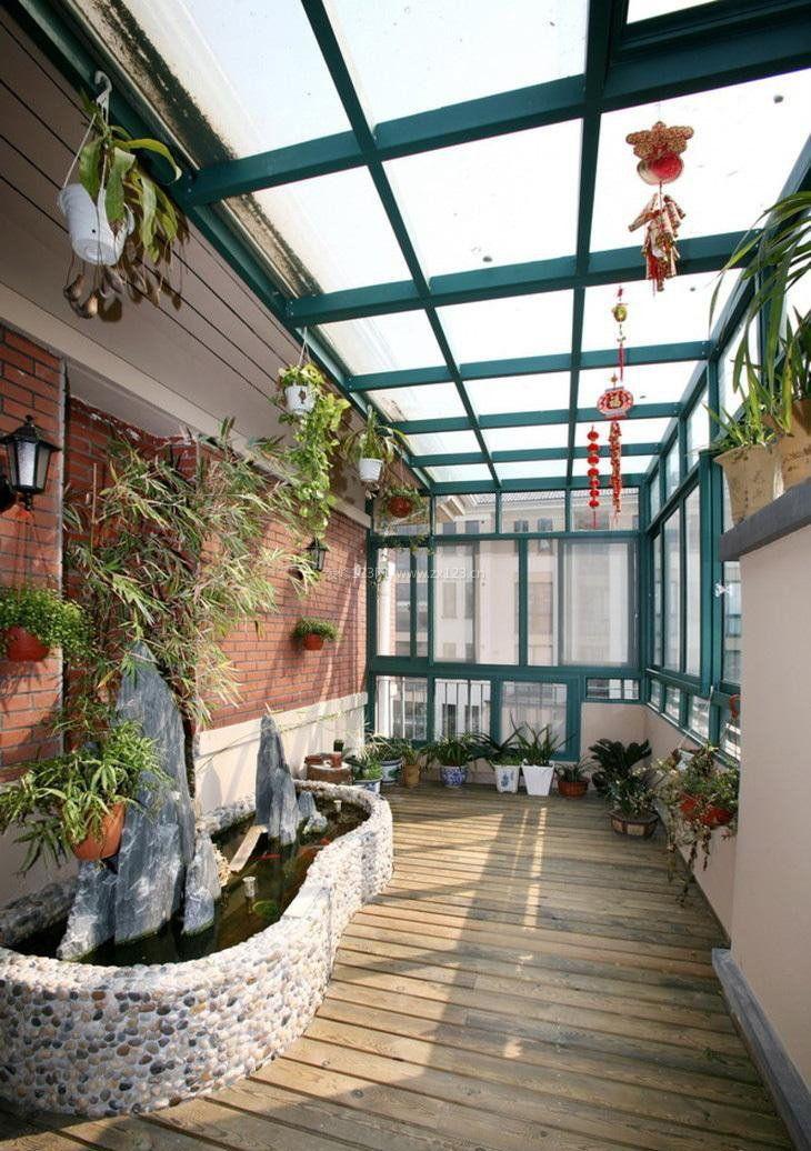 露天阳台花园设计玻璃吊顶装修效果图