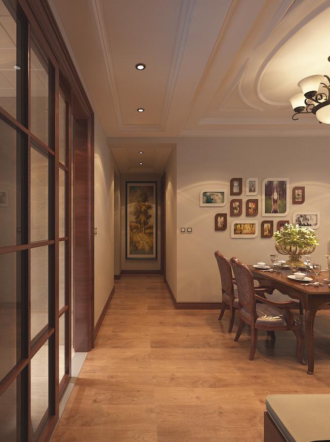 中式古典餐厅石膏线吊顶设计装修效果图