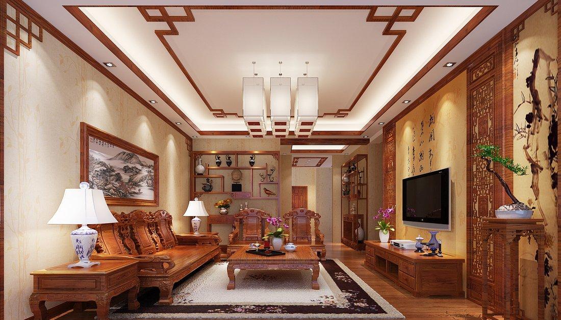 中式家居家装客厅吊顶设计装修效果图片