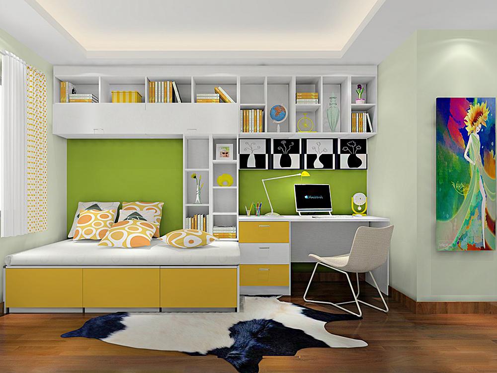 男孩卧室电脑桌带书柜设计装修效果图